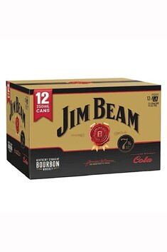 JIM BEAM AND COLA GOLD 12 X 250ML CANS 7%